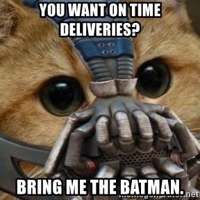 bane cat - You want on time deliveries? Bring me the batman.