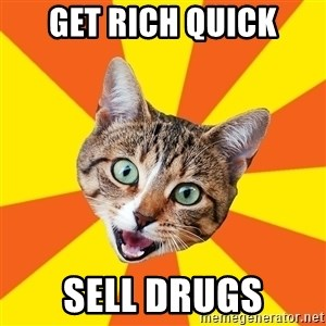 Bad Advice Cat - Get rich quick sell drugs
