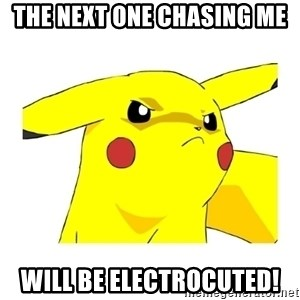 Pikachu - The next one chasing me will be electrocuted!