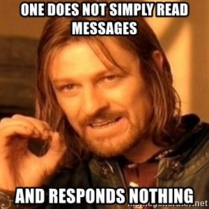 One Does Not Simply - One does not simply read messages and responds nothing