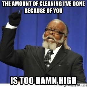 The tolerance is to damn high! - The amount of cleaning I've done because of you Is too damn high