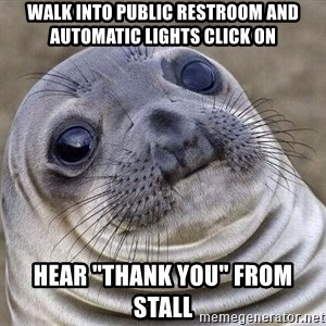 """Awkward Seal - Walk into public restroom and automatic lights click on hear """"Thank you"""" from stall"""