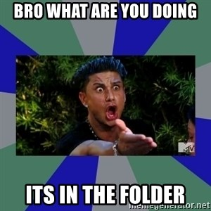 jersey shore - BRO WHAT ARE YOU DOING ITS IN THE FOLDER