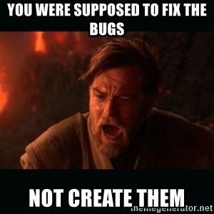 "Obi Wan Kenobi ""You were my brother!"" - You were supposed to fix the bugs Not create them"