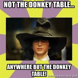 Harry Potter Sorting Hat - not the donkey table... anywhere but the donkey table!