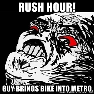 Rage Face - RUSH HOUR! GUY BRINGS BIKE INTO METRO