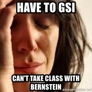 Crying lady - Have to GSI Can't take class with Bernstein