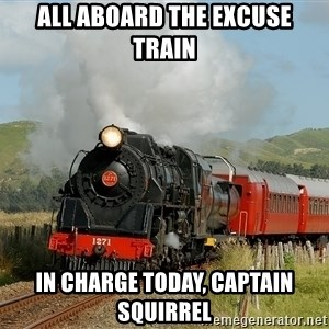 Success Train - all aboard the excuse train in charge today, captain squirrel