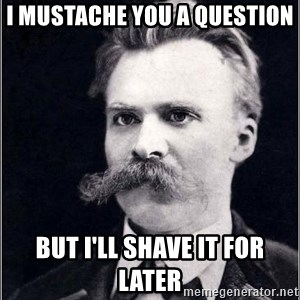 Nietzsche - I mustache you a question but i'll shave it for later