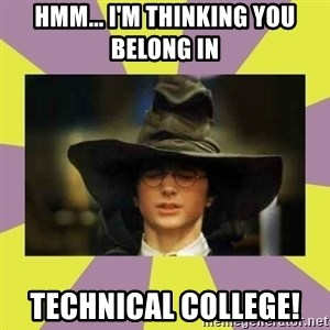 Harry Potter Sorting Hat - Hmm... I'm thinking you belong in  technical college!