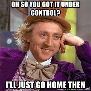 Oh so you're - Oh so you got it under control? I'll just go home then