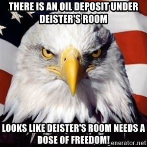 Freedom Eagle  - There is an oil deposit under Deister's Room Looks like Deister's room needs a dose of freedom!