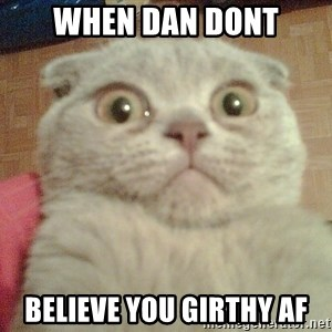 GEEZUS cat - when dan dont believe you girthy af