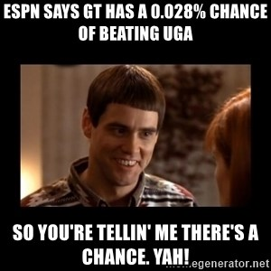 Lloyd-So you're saying there's a chance! - ESPN says GT has a 0.028% chance of beating UGA SO you're tellin' me there's a chance. YAH!