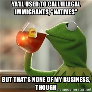"""Kermit The Frog Drinking Tea - ya'll used to call illegal immigrants, """"natives"""" but that's none of my business, though"""
