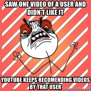 iHate - saw one video of a user and didn't like it youtube keeps recomending videos by that user