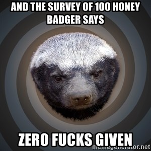 Fearless Honeybadger - and the survey of 100 honey badger says zero fucks given
