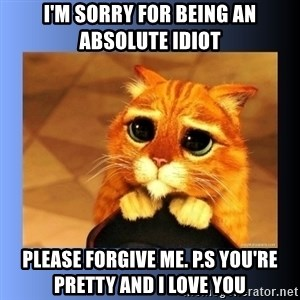 puss in boots eyes 2 - I'm sorry for being an absolute idiot Please forgive me. P.s you're pretty and I love you