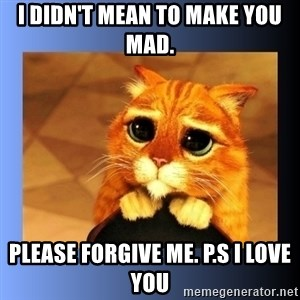 puss in boots eyes 2 - I didn't mean to make you mad. Please forgive me. P.s I love you