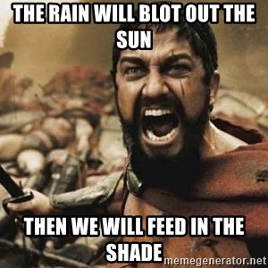 300 - The rain will blot out the sun Then we will feed in the shade