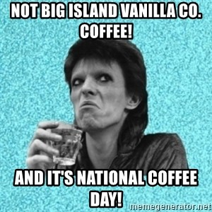 Disturbed Bowie - Not Big Island Vanilla Co. Coffee! And It's National Coffee day!