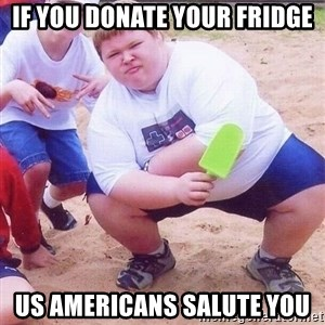 American Fat Kid - If you donate your fridge us americans salute you