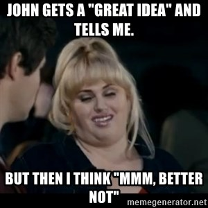 """Better Not - John gets a """"great idea"""" and tells me.  But then I think """"Mmm, better not"""""""