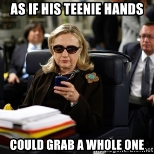 Texts from Hillary - AS IF HIS TEENIE HANDS could grab a whole one