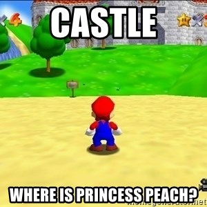 Mario looking at castle - Castle Where is Princess Peach?
