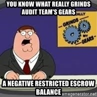 YOU KNOW WHAT REALLY GRIND MY GEARS - You know what really grinds audit team's gears A negative Restricted Escrow balance
