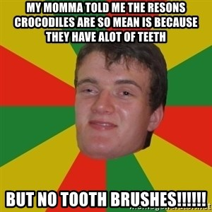 stoner dude - my momma told me the resons  crocodiles are so mean is because they have alot of teeth but no tooth brushes!!!!!!