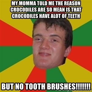 stoner dude - my momma told me the reason crocodiles are so mean is that crocodiles have alot of teeth but no tooth brushes!!!!!!!