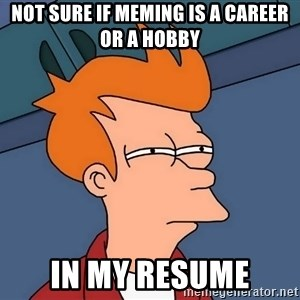 Futurama Fry - not sure if meming is a career or a hobby in my resume