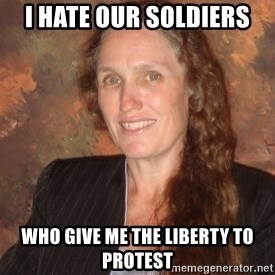 Westboro Baptist Church Lady - i hate our soldiers who give me the liberty to protest