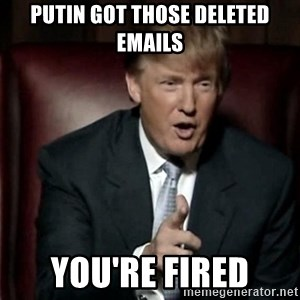 Donald Trump - Putin got those deleted emails You're fired