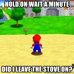 Mario looking at castle - Hold,on Wait a minute Did I leave the stove on?