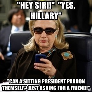 "Hillary Text - ""Hey Siri!""  ""Yes, Hillary"" ""Can a sitting President Pardon themself? Just asking for a friend!"""