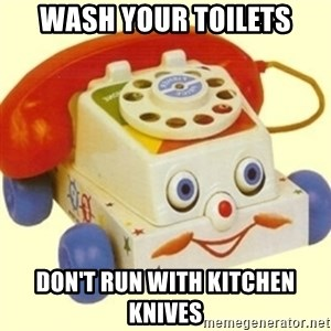 Sinister Phone - wash your toilets don't run with kitchen knives