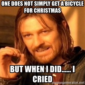 One Does Not Simply - one does not simply get a bicycle for Christmas but when i did...... i cried