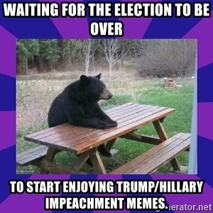 waiting bear - waiting for the election to be over to start enjoying trump/hillary impeachment memes.