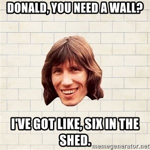 Advice Waters - Donald, you need a wall? I've got like, six in the shed.