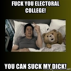 ted fuck you thunder - FUCK YOU ELECTORAL COLLEGE! YOU CAN SUCK MY DICK!