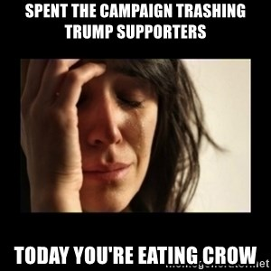 todays problem crying woman - Spent the campaign trashing trump supporters today you're eating crow