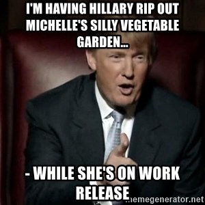 Donald Trump - I'm having hillary Rip out Michelle's silly vegetable garden... - while she's on work release