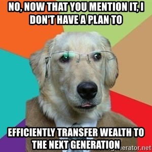 Business Dog - No, now that you mention it, I don't have a plan to  efficiently transfer wealth to the next generation