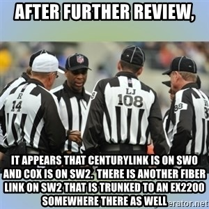 NFL Ref Meeting - After further review, it appears that CenturyLink is on sw0 and cox is on sw2.  There is another fiber link on sw2 that is trunked to an EX2200 somewhere there as well