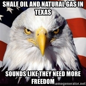 Freedom Eagle  - Shale oil and natural gas in Texas Sounds like they need MORE FREEDOM