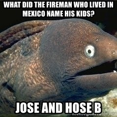 Bad Joke Eel v2.0 - what did the fireman who lived in mexico name his kids? jose and hose b