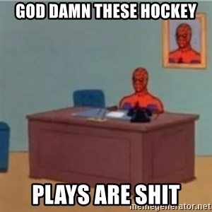 60s spiderman behind desk - God damn these hockey plays are shit