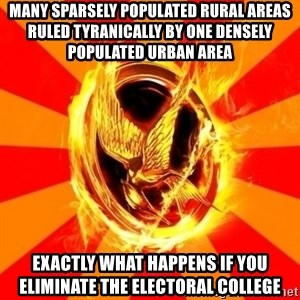 Typical fan of the hunger games - many sparsely populated rural areas ruled tyranically by one densely populated urban area Exactly what happens if you eliminate the electoral college
